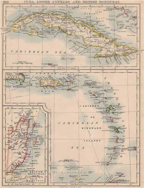 Associate Product CARIBBEAN ISLANDS.Cuba British Honduras Caribbee/Windward. JOHNSTON 1895 map