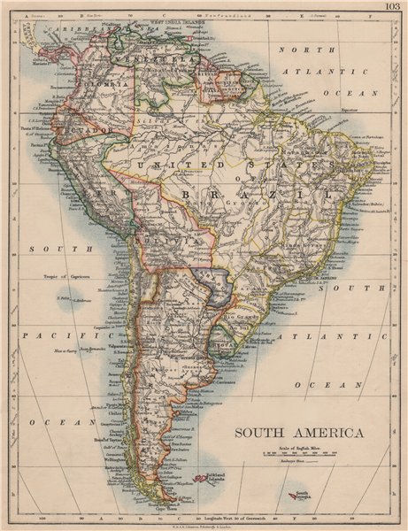 Associate Product SOUTH AMERICA. Bolivia includes Acre, now in Brazil. JOHNSTON 1895 old map