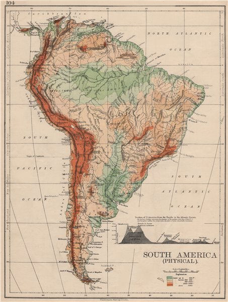 Associate Product SOUTH AMERICA PHYSICAL. Inset West-East cross section. JOHNSTON 1895 old map