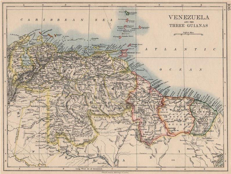 Associate Product VENEZUELA / GUIANAS. Suriname. British French Dutch Guyana.  JOHNSTON 1895 map