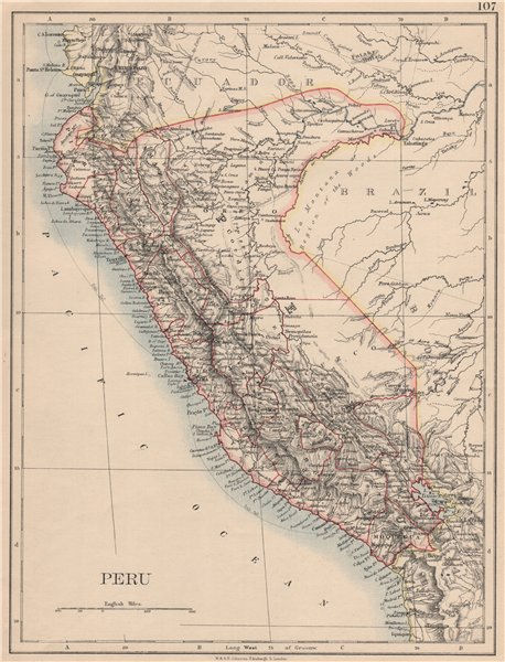 Associate Product PERU. Border as before Peru-Ecuador war (1941). JOHNSTON 1895 old antique map