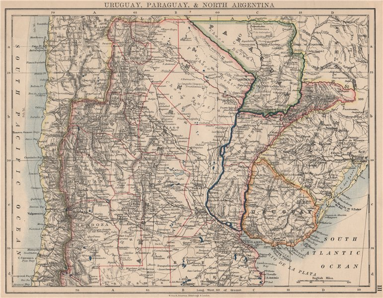 Associate Product URUGUAY PARAGUAY NORTH ARGENTINA. River Plate States Chile. JOHNSTON 1895 map