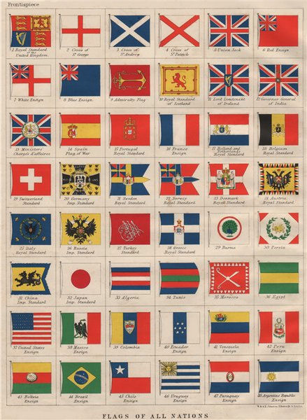 Associate Product NATIONAL FLAGS. Ensigns, Royal & Imperial Standards.  JOHNSTON 1900 old print