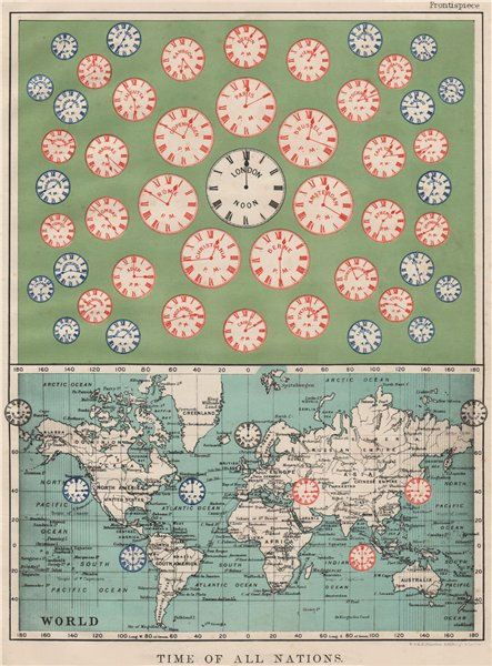 Associate Product TIME OF ALL NATIONS. predates UTC/standard hourly time zones.  JOHNSTON 1900 map