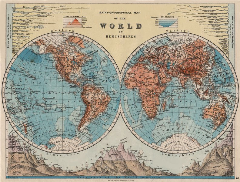 WORLD TWIN HEMISPHERES. Relief. Mountains. Rivers.  JOHNSTON 1900 old map