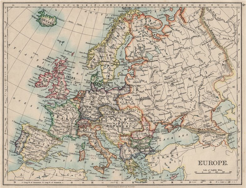 Associate Product EUROPE POLITICAL. Austria-Hungary. United Sweden & Norway. JOHNSTON 1900 map