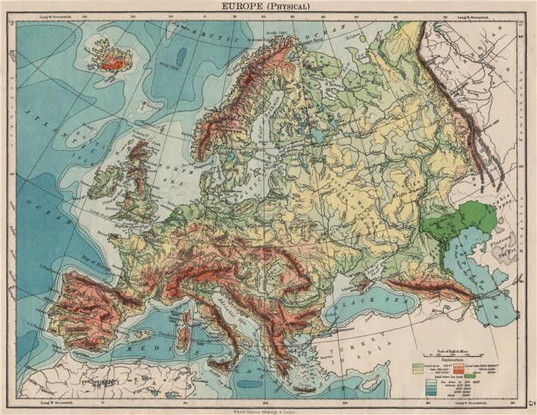 Associate Product EUROPE PHYSICAL. Relief Ocean depths Key mountains Plains. JOHNSTON 1900 map