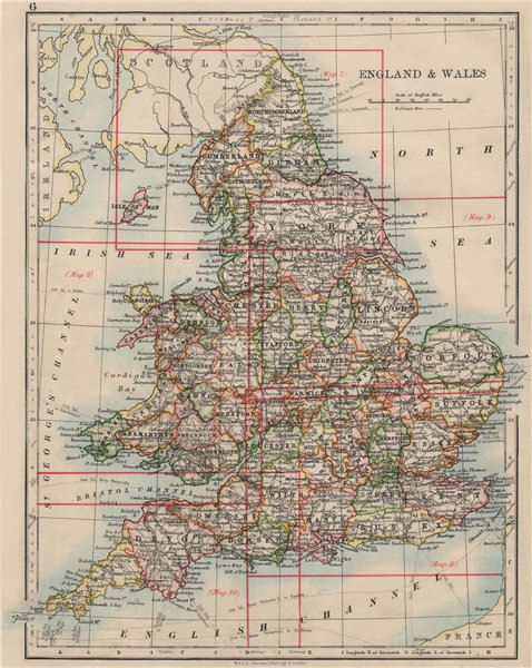 Associate Product ENGLAND AND WALES. Counties. Westmorland. Telegraph cables.  JOHNSTON 1900 map