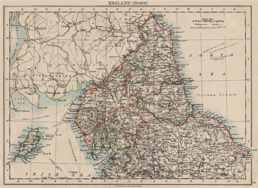 Associate Product NORTHERN ENGLAND. Northumbs Durham Cumbs Westm N Yorks IOM. JOHNSTON 1900 map
