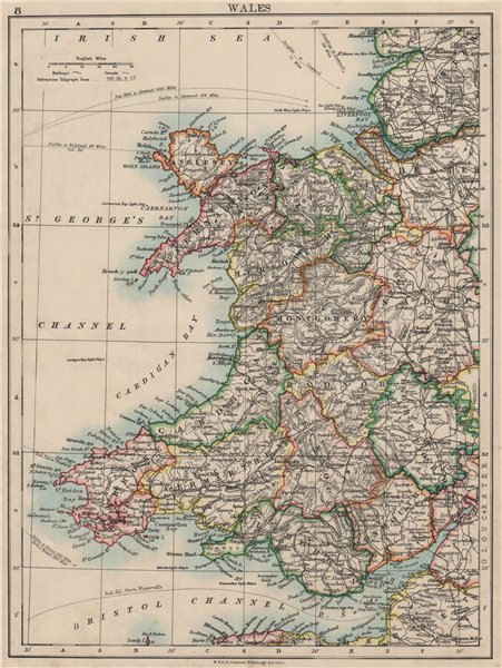 Associate Product WALES. Showing counties. Telegraph cables.  JOHNSTON 1900 old antique map