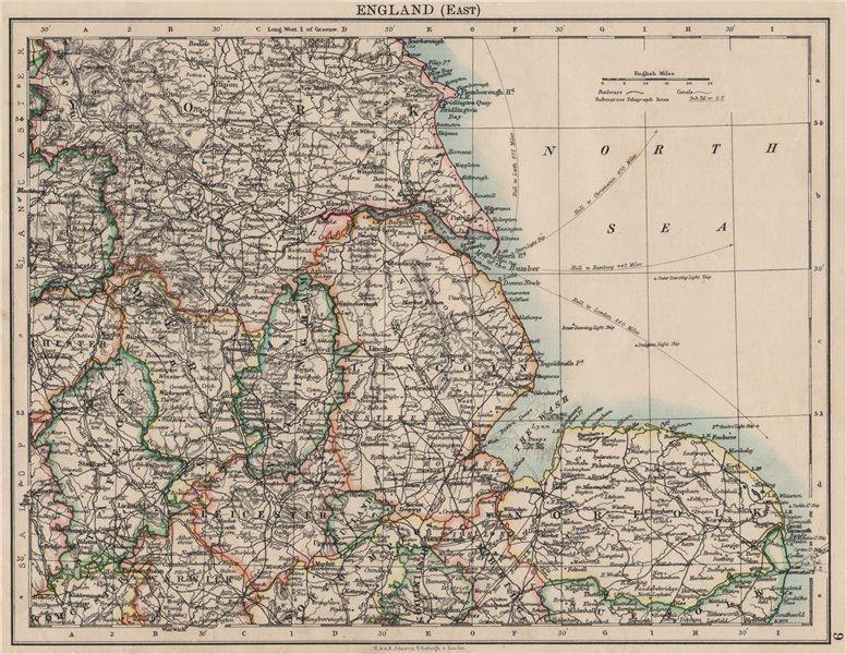 Associate Product EAST ENGLAND. Lincs Norfolk Leics Notts Staffs Derbys Yorks.  JOHNSTON 1900 map