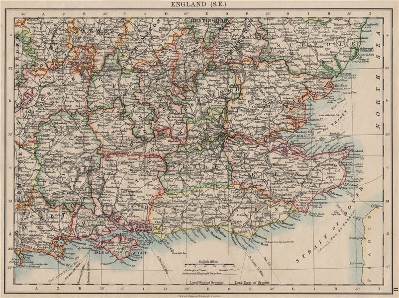 Associate Product SOUTH EAST ENGLAND. Home counties. Thames valley & estuary.  JOHNSTON 1900 map