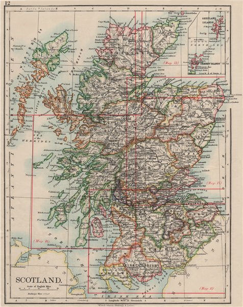 Associate Product SCOTLAND. Counties. Undersea telegraph cables. JOHNSTON 1900 old antique map