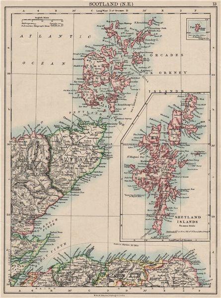 Associate Product MORAY FIRTH. Caithness Elgin Shetlands Orkneys. Scotland. JOHNSTON 1900 map