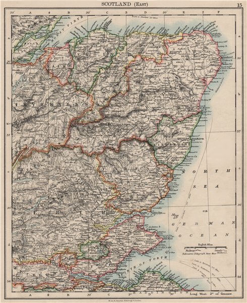 Associate Product SCOTLAND EAST. Grampian Tayside Fife Firth of Forth Aberdeen.JOHNSTON 1900 map