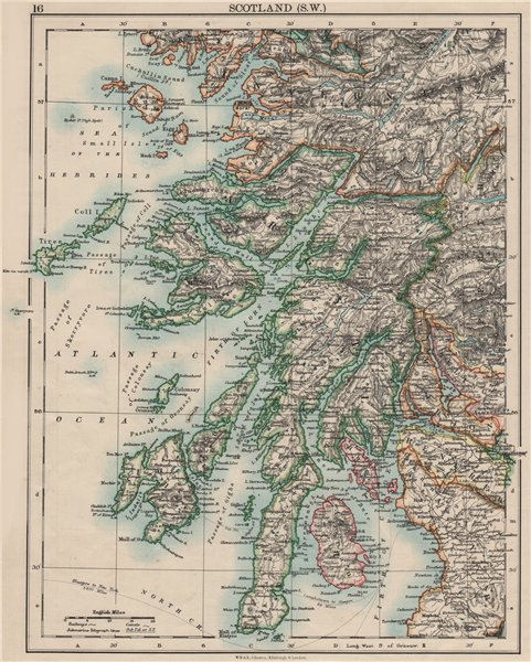 ARGYLLSHIRE. South West Scotland. Bute Arran Dumbarton.  JOHNSTON 1900 old map