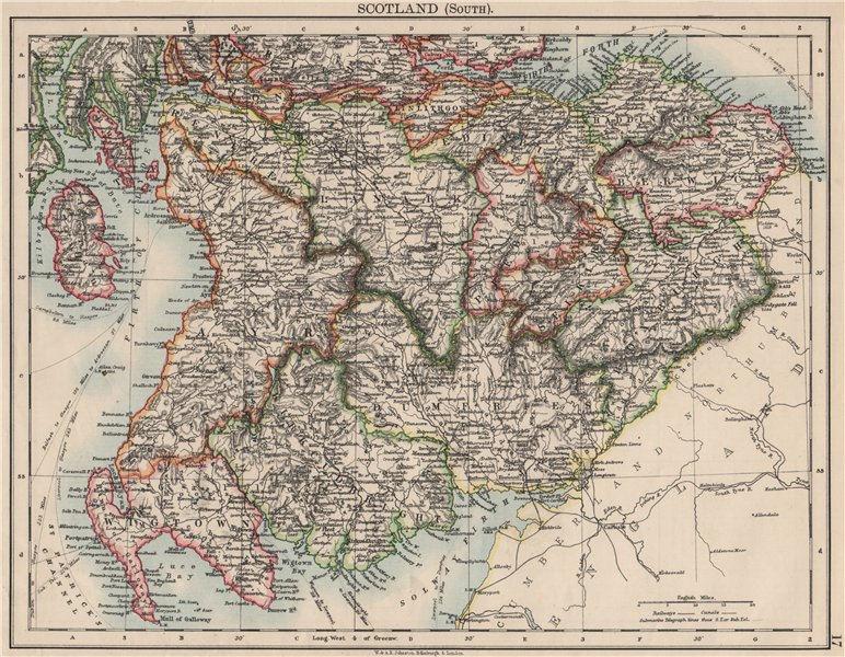 Associate Product SOUTH SCOTLAND. Dumfries Galloway Lothian Borders Lanark Ayr.JOHNSTON 1900 map