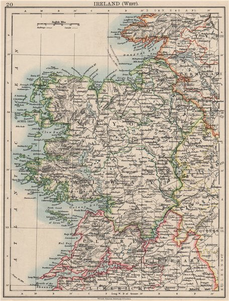 Associate Product CONNACHT CONNAUGHT. Galway Mayo Sligo Leitrim. West Ireland. JOHNSTON 1900 map