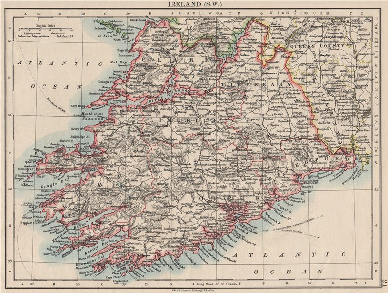 Associate Product MUNSTER.  Clare Cork Kerry Limerick Waterford &c.SW Ireland. JOHNSTON 1900 map
