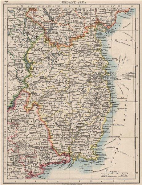 Associate Product LEINSTER. Meath Dublin Longford Wexford Wicklow.  SE Ireland.  JOHNSTON 1900 map