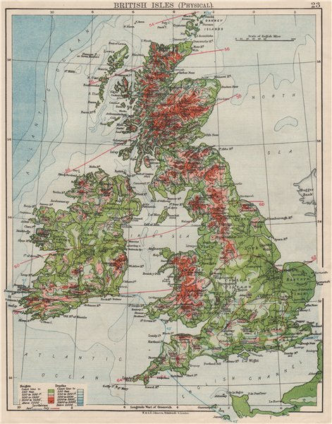 Associate Product BRITISH ISLES RELIEF. Showing isotherms in January & July. JOHNSTON 1900 map
