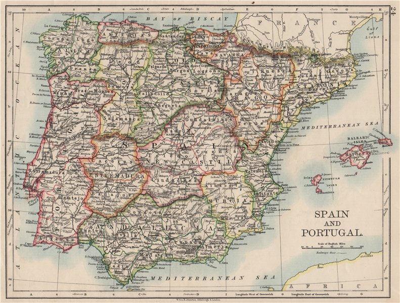 Associate Product SPAIN AND PORTUGAL. Iberia. Provinces railways. Balearics.  JOHNSTON 1900 map
