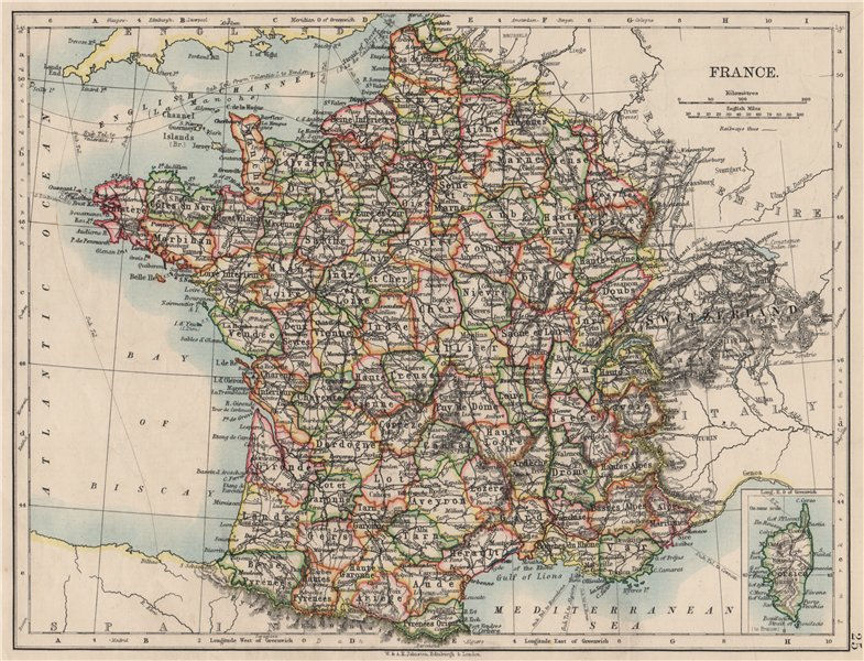 Associate Product FRANCE. German Alsace & Lorraine. Undersea telegraph cables. JOHNSTON 1900 map