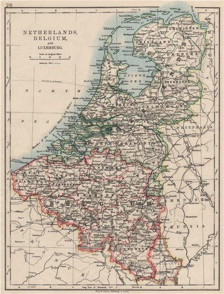 Associate Product BENELUX.Netherlands Belgium Luxemburg. Holland.  JOHNSTON 1900 old antique map