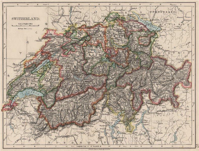 Associate Product SWITZERLAND. Shows cantons & railways. Alps. Italian lakes. JOHNSTON 1900 map