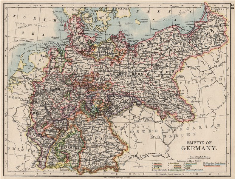 Associate Product EMPIRE OF GERMANY. States. Prussia Bavaria Alsace Lorraine.  JOHNSTON 1900 map