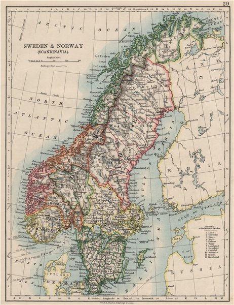 Associate Product SCANDINAVIA. Sweden Norway.Railways Undersea telegraph cables. JOHNSTON 1900 map