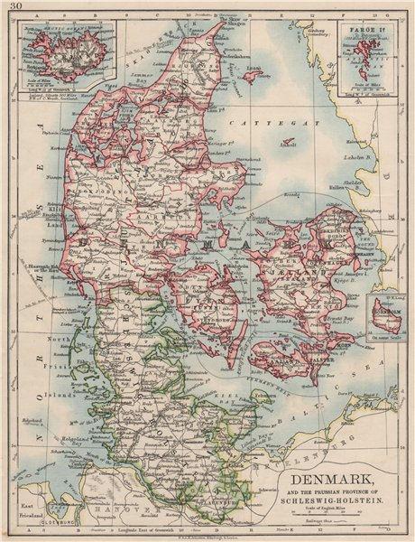 Associate Product DENMARK SLESVIG-HOLSTEN. Prussian Schleswig-Holstein. JOHNSTON 1900 old map