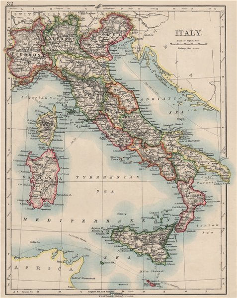 Associate Product ITALY. Showing states/territorial divisions. JOHNSTON 1900 old antique map