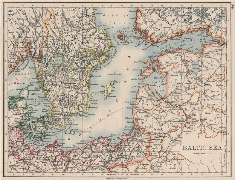 Associate Product BALTIC SEA. Sweden Prussia Denmark Livonia Courland Finland.  JOHNSTON 1900 map