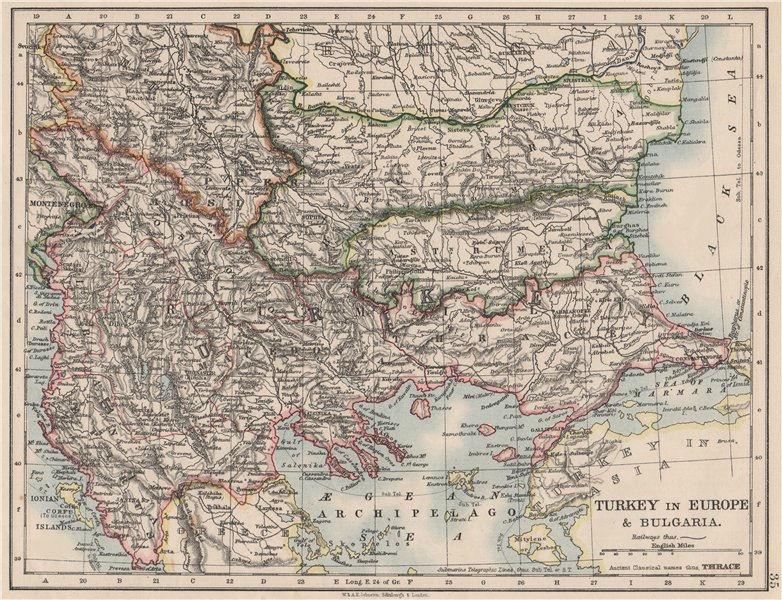 Associate Product TURKEY IN EUROPE & BULGARIA. Rumili East Rumelia Balkans. JOHNSTON 1900 map