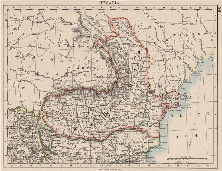 Associate Product RUMANIA. Romania Wallachia Moldavia Moldova. Railways.  JOHNSTON 1900 map