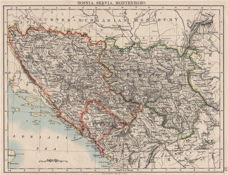 Associate Product BOSNIA SERVIA MONTENEGRO. Balkans Serbia Croatia Herzegovina.JOHNSTON 1900 map