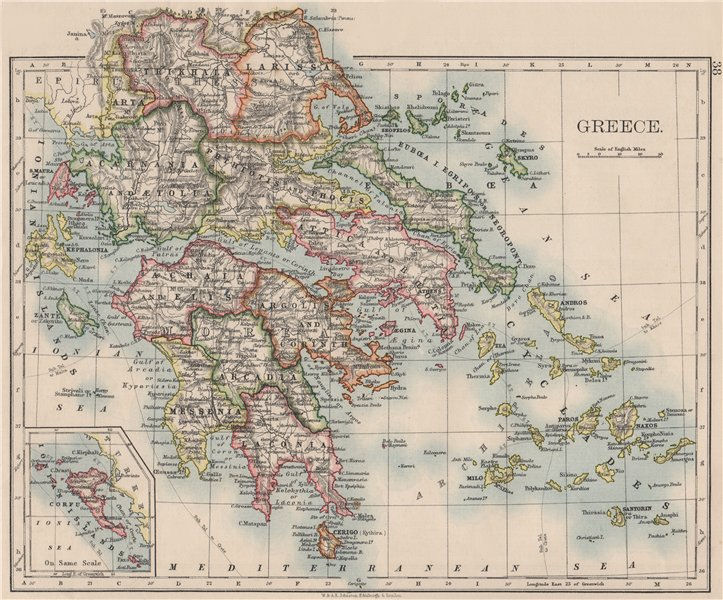 Associate Product GREECE. Morea Thessaly Rumelia Cyclades Aegean Ionian Islands. JOHNSTON 1900 map