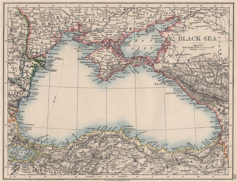 Associate Product BLACK SEA. Russia Turkey Crimea Romania Bulgaria Kutais. JOHNSTON 1900 old map