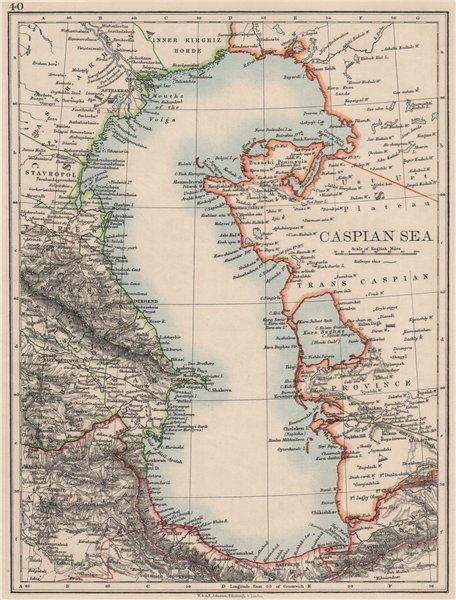 "Associate Product CASPIAN SEA. Baku Persia Astrakan. ""Inner Kirghiz Horde"".  JOHNSTON 1900 map"