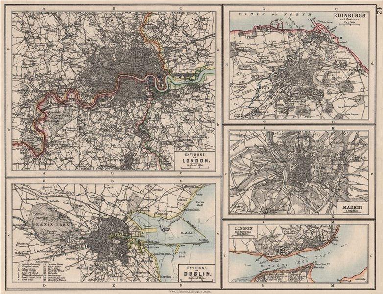 Associate Product EUROPEAN CITIES. London Edinburgh Madrid Lisbon Dublin. JOHNSTON 1900 old map