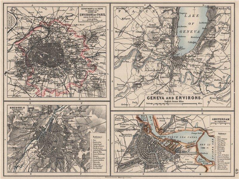 Associate Product EUROPEAN CITIES. Environs of Paris Brussels Amsterdam Geneva.JOHNSTON 1900 map