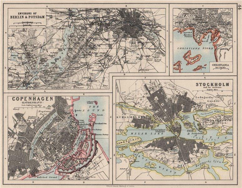 Associate Product EUROPEAN CITIES. Berlin Copenhagen Stockholm Christiania/Oslo. JOHNSTON 1900 map