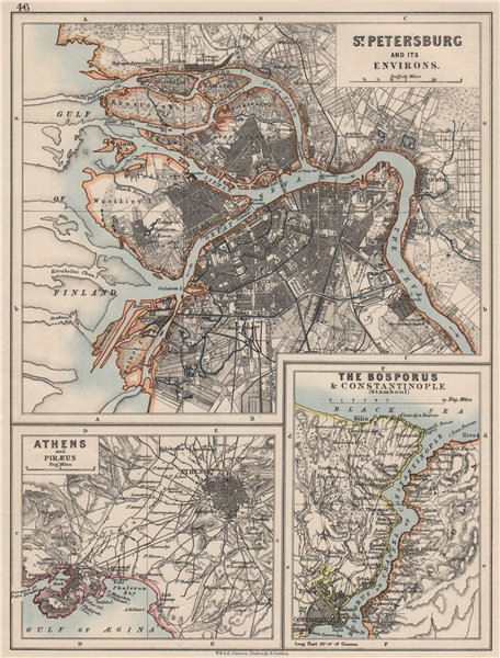 Associate Product EUROPE. St Petersburg Athens Piraeus Constantinpole Bosphorus. JOHNSTON 1900 map