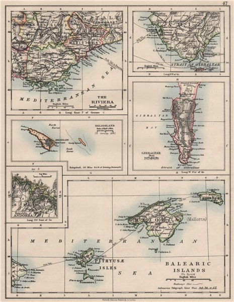 Associate Product EUROPE.Balearic islands.Heligoland Gibraltar Andorra Riviera.JOHNSTON 1900 map