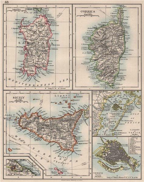 Associate Product MEDITERRANEAN ISLANDS. Sardinia Corsica Venice Sicily Venezia. JOHNSTON 1900 map