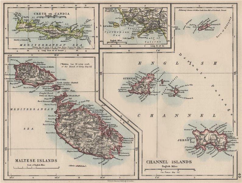 Associate Product EUROPEAN ISLANDS.Malta Gozo Crete Capri Jersey Guernsey Sark.  JOHNSTON 1900 map