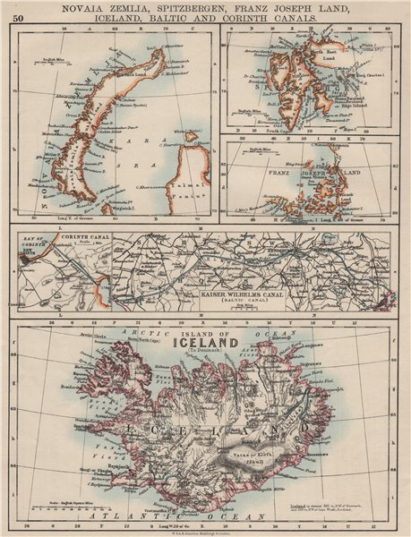Associate Product ARCTIC ISLANDS.Iceland Spitsbergen Franz Josef Land Novaya Zemlya 1900 old map