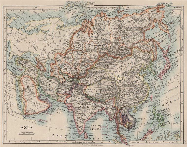 Associate Product ASIA POLITICAL. Persia Siam Hejaz China Japan Corea Turkestan. JOHNSTON 1900 map