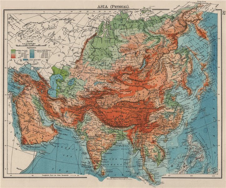 Associate Product ASIA PHYSICAL. Relief Mountain heights Ocean depths Rivers. JOHNSTON 1900 map